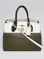 Louis Vuitton White/Green Leather City Steamer MM Bag