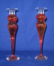 Wimberley Glass Works Stunning Pair of Cranberry Candlesticks Candle Holders
