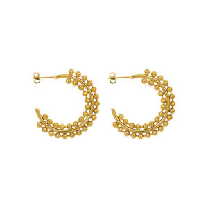 Woman 18K Gold Plated Stainless Steel Round Beads Balls Earring Stud