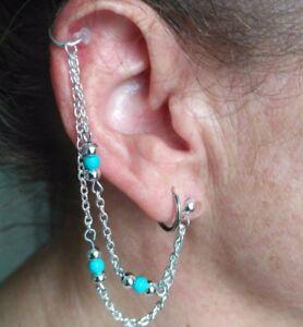 Turquoise double chain Boho jewellery Ear cuff  Ethnic Bohemian Earrings UK