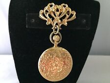 VTG. NAPIER GOLD PLATED ETCHED FLOWERS DANGLE POCKET WATCH REPLICA BROOCH