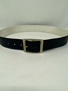 """Womens 34 M Navy Blue Vegan Faux Leather Belt with Gold Buckle 1-3/4"""" Wide"""