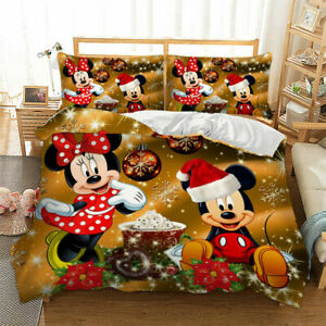 3D Duvet Cover Minnie Mickey Mouse Quilt Cover Bedding Set with Pillow case King