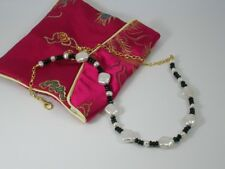 White Diamond Shaped Freshwater Pearls & Black Agate Necklace