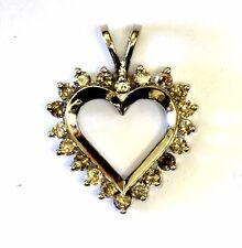 14k Oro Blanco .80ct I2 Marrón Mujer Colgante de Corazón Diamante 3.6g Antiguo