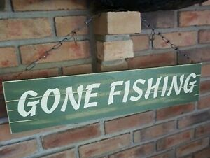 Large 2 Sided FISHING SIGN Fisherman Log Cabin Lodge Rustic Camping Home Decor