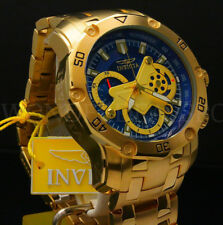 New Invicta Men's Pro Diver Scuba 3.0 Chrono 18K Gold Plated Blue Dial S.S Watch