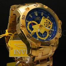 New Invicta Men's Pro Diver Scuba 3.0 Chrono 18K Gold Plated Blue Dial S.S Watch