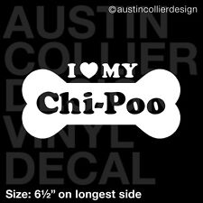 "6.5"" CHI-POO vinyl decal car window laptop sticker - dog breed rescue"