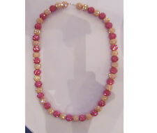 """Crystal Pave Pink and Gold Ball Necklace 18"""" Long 10.0 mm"""
