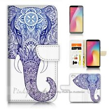 ( For Oppo A73 ) Flip Wallet Case Cover P21106 Elephant Tribal Aztec