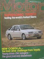 Motor magazine 10/9/1983 featuring Toyota road test, Janspeed Turbo Sierra XR4i