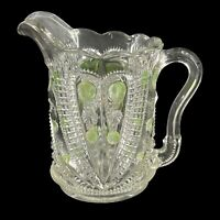 Antique EAPG Glass Clear w/ Green Dots Creamer Pitcher Scalloped Cut 5""