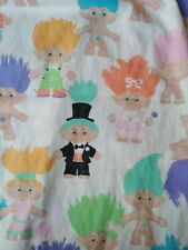 Vintage 1992 Treasure Trolls Dolls Twin Size Bed Sheet Set Flat & Fitted Sheets