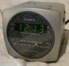 Sony Dream Machine Am/Fm Alarm Clock Radio Icf-C160 Silver Gray Clean Works Well