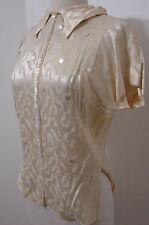 Vintage Custom EDIE ADAMS Cream Burnout Silk Costume Blouse 34