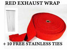 Red Exhaust Manifold Downpipe RAP Heat Wrap DE CAT PIPE TAPE 10M +10 Ties Wrap