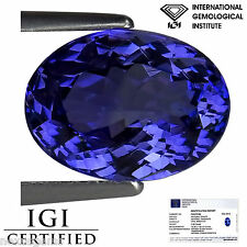 2.99 Ct IGI Certified AA+ Natural D Block Tanzanite Blue Violet Color Oval Cut