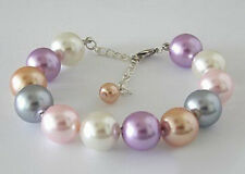 Multi-Color Shell Pearl Beads 18KWGP Adjustable Clasp Women Girl Bangle Bracelet
