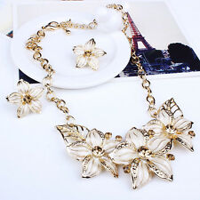 Charm Women Flower Chunky Pendant Chain Choker Collar Bib Necklace Jewelry Set