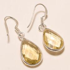 2.70 Gm 925 Solid Sterling Silver AAA Lemon Quartz Cut Earrings Gemstone R-821