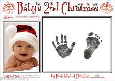 A4 Babys Second Weihnachten Hand Drucke Fußabdrücke Set 2nd Sitz Geschenk