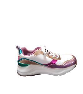 Skechers Women's Street Rovina Mermaid Wave Sneaker Pink Metallic Lace up 7.5