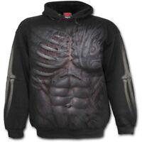 Men/'s Glowing Skeleton Bones Black//Charcoal Raglan Hoodie Evil Halloween Sweater