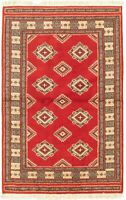 "Vintage Hand-Knotted Carpet 3'1"" x 5'0"" Traditional Oriental Wool Area Rug"