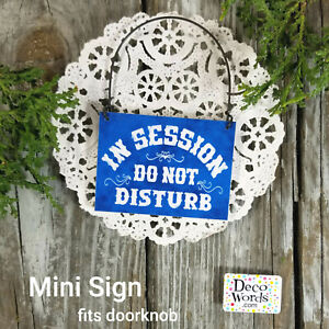 MINI Sign (fits door knob) IN SESSION Do Not Disturb Therapy Blue USA Therapist