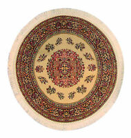 1:12 Scale Round Woven Turkish Rug Dolls House Miniature Carpet 1649 Cream (A)