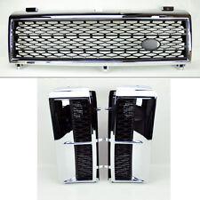 Range Rover 03-05 Mesh Chrome Blk Front Bumper Hood Grill & Side Fender Vents