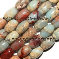 AQUA TERRA JASPER GEMSTONE BEADS 5X8MM OVAL STONE BEAD STRANDS S138
