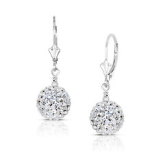 14k White Gold 6mm Crystal Pave Accent Disco Ball Drop Leaverback Earrings