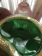 Barovier  Toso Green Gold  Murano Shell Bowl