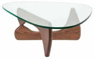 Dark Walnut Coffee Table Triangle Glass Solid Wood Base 12mm