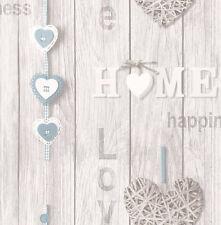 Love su Casa Azul/Blanco Shabby Chic Wallpaper efecto panel de madera (FD41719)