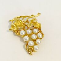 Vintage Gold Tone Faux Pearl Fruit Bunch Grapes Vine Brooch Pin Jewelry