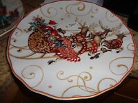 4 Williams Sonoma Twas night before Christmas salad plates Santa St Nick sleigh