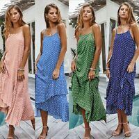 Women Boho Long Maxi Dress Holiday Summer Beach Strappy Sexy Swing Sundress LIU9