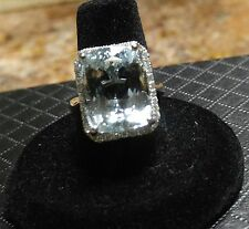Diamond Aquamarine Ring. 14k 12.74 Ct  Aquamarine. Big and Bold