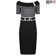 Ro Rox Polka Dot Vintage Style Retro 1950's Pinup Work Party Pencil Wiggle Dress