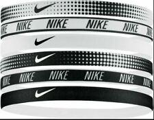 Nike Unisex Graphic Hairbands - Swoosh Logo, Black/White Graphic Design - 6 Pack
