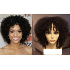 Short Afro Curly Human Hair Wigs with Bangs Mongolian Kinky Curly Lace Front Wig