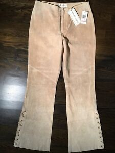 New MARGARET GODFREY $160 Beige Suede Leather Pants 8 Lace-Up Boot/Flare Leg