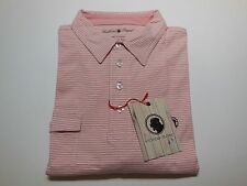 Southern Proper Men's Casual Stripe Tourney Shirt Pink/White 100% Cotton Medium