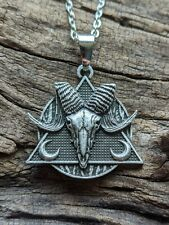 Silver Ram Skull Pendant Necklace Rustic Viking Nature Jewelry MN38
