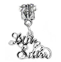 Little Sister Cursive Words Sibling Gift Dangle Charm for European Bead Bracelet