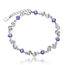"""Women's Fashion 925 Sterling Silver Amethyst Purple Cubic Zircon  Bracelet 7"""""""