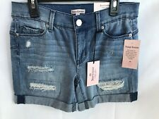 New! Juicy Couture Women's Destructed Encrusted Denim Midi Shorts Size 2